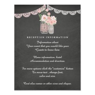 Chic Mason Jar & Chalkboard Wedding Insert card 11 Cm X 14 Cm Invitation Card