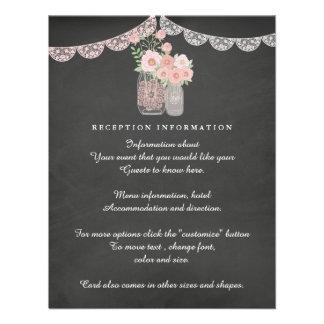 Chic Mason Jar & Chalkboard Wedding Insert card