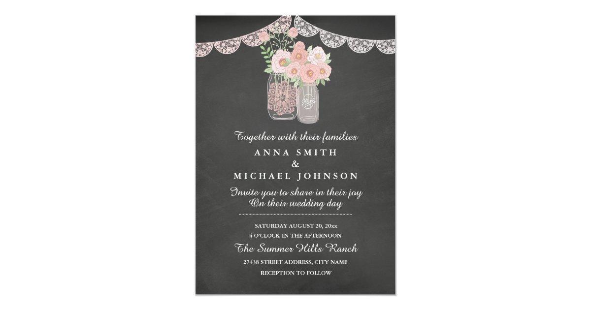 Cottage Mason Jar Wedding Invitation: Chic Mason Jar & Chalkboard Wedding Invitation