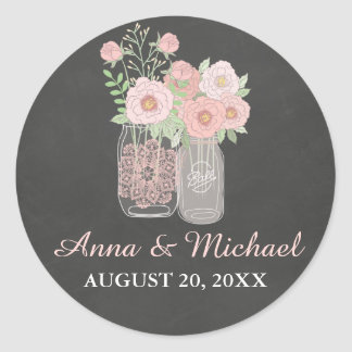 Chic Mason Jar & Chalkboard Wedding Sticker