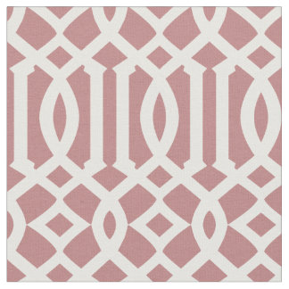 Chic Mauve Pink and White Trellis Lattice Pattern Fabric