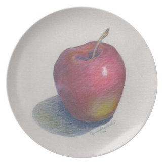 CHIC MELAMINE PLATE_APPLE PENCIL DRAWING PLATE