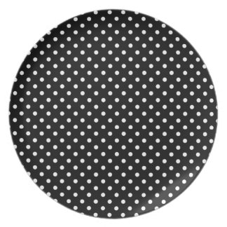 CHIC MELAMINE PLATE_BLACK WITH WHITE POLKA DOTS PLATE