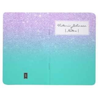 Chic mermaid lavender glitter turquoise ombre journal