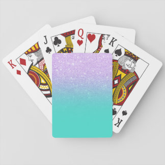 Chic mermaid lavender glitter turquoise ombre poker deck
