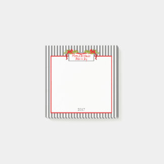 CHIC MERRY CHRISTMAS POST-IT-NOTE_GREY STRIPES POST-IT NOTES