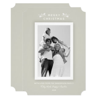 Chic Minimal Beige White Frame Christmas Photocard Card
