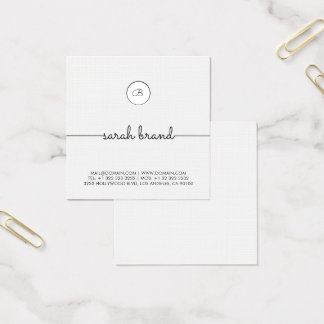 Chic Minimalist Monogram Square Business Card