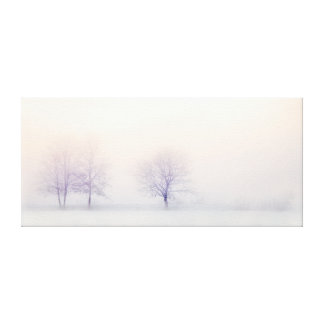 Chic Minimalist Winter Trees In Snow At Sunrise Canvas Print