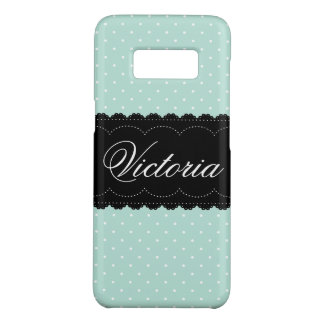 Chic Mint Blue Polka Dots Pattern Custom Name Case-Mate Samsung Galaxy S8 Case