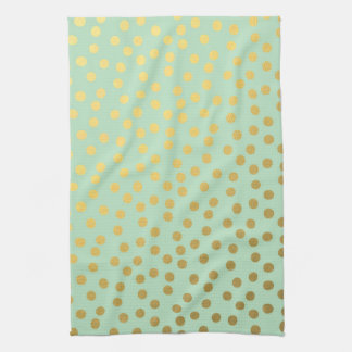 Chic Mint Gold Confetti Dots Hand Towels