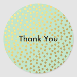 Chic Mint Gold Dots Round Sticker