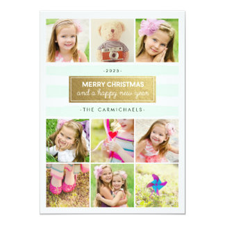Chic Mint Gold Photo Collage Holidays Card 13 Cm X 18 Cm Invitation Card