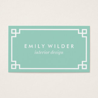 Chic Mint Green and White Greek Key Business Card