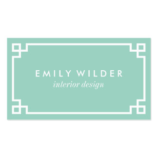 Chic Mint Green and White Greek Key Pack Of Standard Business Cards