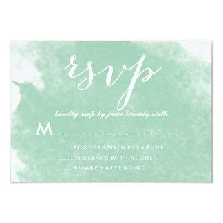 CHIC MINT GREEN WATERCOLOR WEDDING RSVP CARDS 9 CM X 13 CM INVITATION CARD