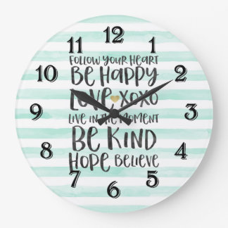 Chic Mint Stripes Inspirational Words Large Clock