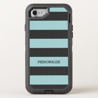 Chic Mint Stripes OtterBox Defender iPhone 8/7 Case