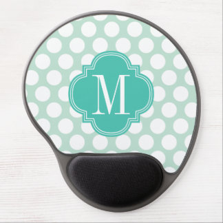 Chic Mint & Turquoise Big Dots Monogrammed Gel Mouse Pad