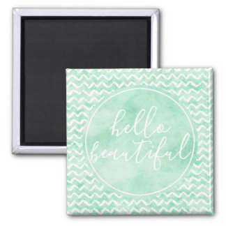Chic Mint Watercolor Chevron Stripes Beautiful Magnet
