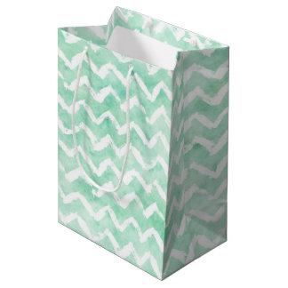 Chic Mint Watercolor Chevron Stripes Medium Gift Bag