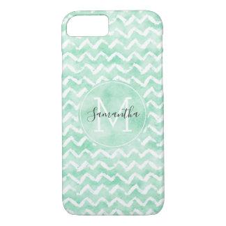 Chic Mint Watercolor Chevron Stripes Monogram iPhone 8/7 Case