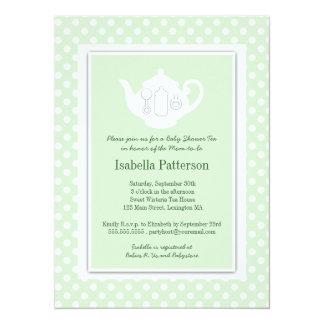 Chic Mint | White Teapot Baby Shower Tea Party 14 Cm X 19 Cm Invitation Card