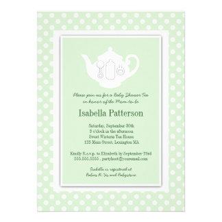 Chic Mint White Teapot Baby Shower Tea Party Announcements
