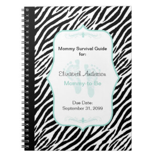 Chic Mint Zebra Mommy Advice for Mother to Be Notebook