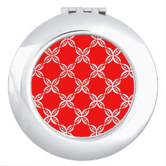 CHIC MIRROR COMPACT_01 RED/WHITE FLORAL MIRRORS FOR MAKEUP