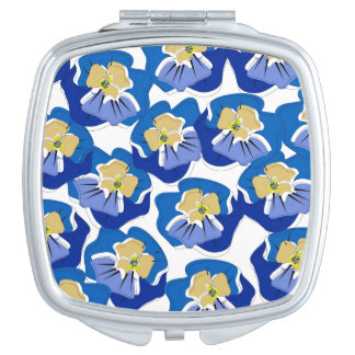 CHIC MIRROR COMPACT_ BLUE/GOLD PANSIES MAKEUP MIRRORS