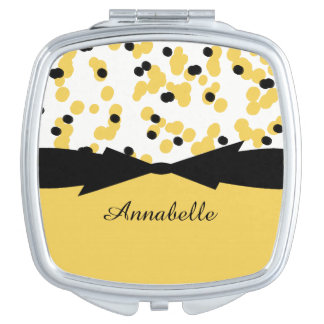 CHIC MIRROR COMPACT_GIRLY BLACK/YELLOW DOTS MIRRORS FOR MAKEUP