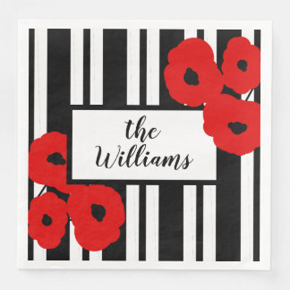 CHIC MOD 12 RED POPPIES ON BLACK STRIPES PAPER NAPKINS