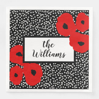 CHIC MOD 12 RED POPPIES ON WHITE DOTS PAPER NAPKIN
