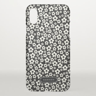 Chic Mod Black White Floral Personalised iPhone X Case