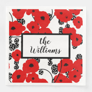 CHIC MOD RED POPPIES ON BLACKBERRIES DISPOSABLE SERVIETTE