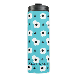 CHIC MOD WHITE AND BLACK FLORAL ON AQUA THERMAL TUMBLER