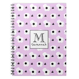CHIC _MOD WHITE AND BLACK FLORAL ON LILAC NOTEBOOKS