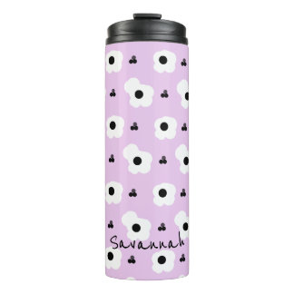CHIC MOD WHITE AND BLACK FLORAL ON LILAC THERMAL TUMBLER