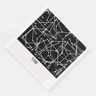 CHIC MOD WHITE GEOMETRIC WITH MONOGRAM_DIY PAPER NAPKIN