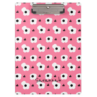 CHIC MOD WHTIE AND BLACK FLORAL ON 241 PINK CLIPBOARD