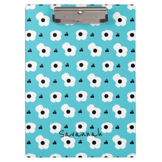 CHIC MOD WHTIE AND BLACK FLORAL ON AQUA CLIPBOARD