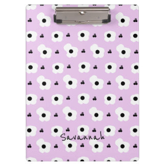 CHIC MOD WHTIE AND BLACK FLORAL ON LILAC CLIPBOARD