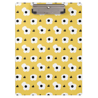 CHIC MOD WHTIE AND BLACK FLORAL ON YELLOW CLIPBOARD