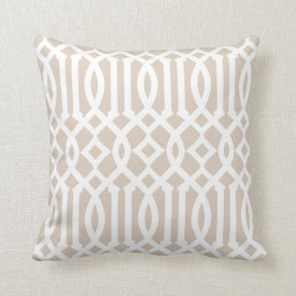 Chic Modern Beige and White Imperial Trellis Cushion