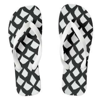 Chic Modern Black and White Pattern Thongs