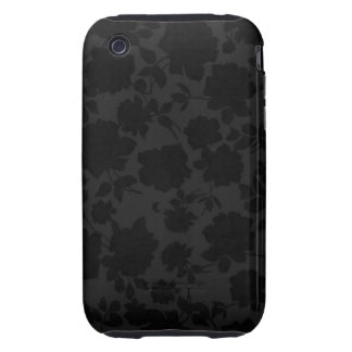 Chic Modern Black Trendy Vintage Floral Pattern iPhone3 Case