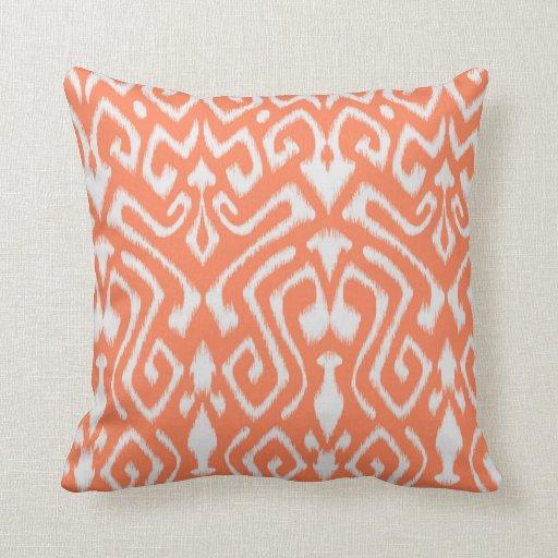 Chic modern colorful orange ikat tribal pattern pillow