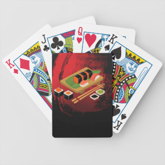 Chic Modern Elegant Black & Red Sushi Bicycle Playing Cards