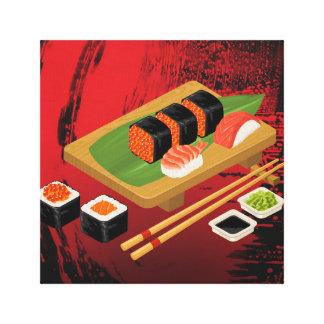 Chic Modern Elegant Black & Red Sushi Canvas Print